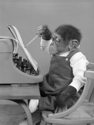 1950s-chimp-in-overalls-sitting-in-chair-at-typewriter-with-pencil-and-steno-pad